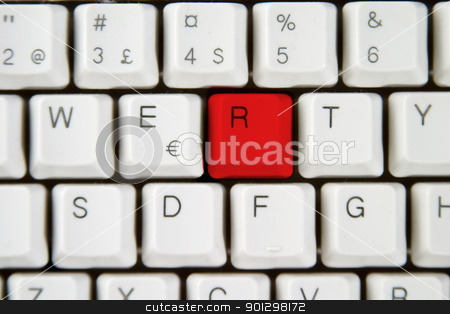 Computer Keyboard Letter R stock photo, Isolated letter R on from a computer desktop keyboard. by Tyler Olson