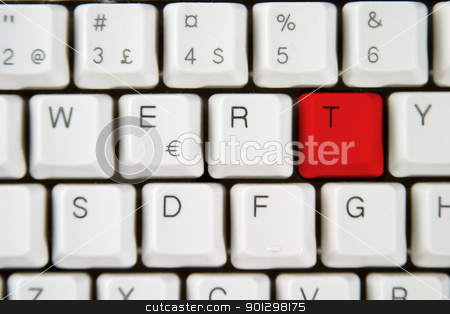 Computer Keyboard Letter T stock photo, Isolated letter T on from a computer desktop keyboard highlighted in red by Tyler Olson