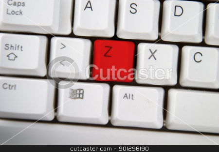 Computer Keyboard Letter Z stock photo, Isolated letter Z on from a computer desktop keyboard highlighted in red. by Tyler Olson
