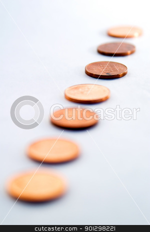 Norwegian 50 re in a Row stock photo, Row of norwegian 50 cent pieces, re, with a shallow depth of field by Tyler Olson