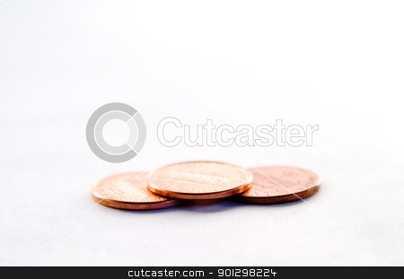 Pennies stock photo, Row of pennies with a shallow depth of field by Tyler Olson
