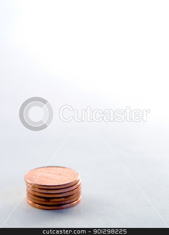 Pennies stock photo, stack of pennies with a shallow depth of field by Tyler Olson