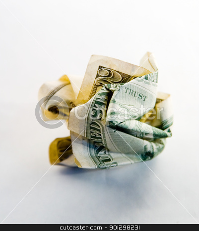 No Trust - Money stock photo, A crumpled american 20 dollar bill, with the words trust showing. by Tyler Olson