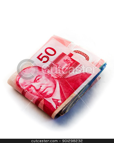 Large Canadian fold of money stock photo, Large fold of Canadian money with the $50 canadian bill on the top by Tyler Olson