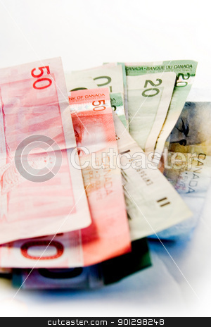 Canadian Bills stock photo, An assortment of Canadian bills. by Tyler Olson