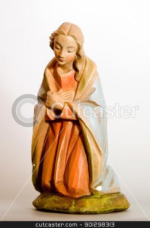 Mary Nativity Figurine stock photo, Mary from a vintage nativity set. by Tyler Olson