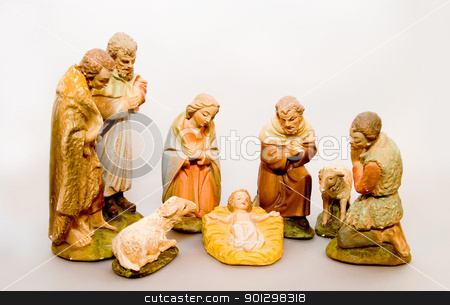 Full Nativity Scene stock photo, Ful Nativity set on white. by Tyler Olson