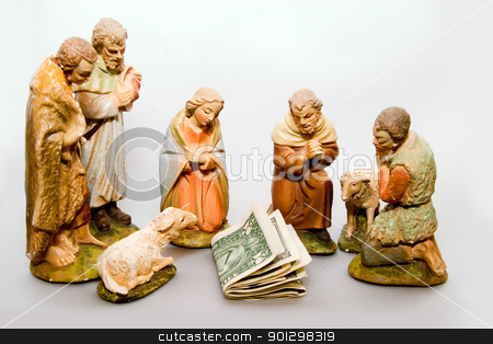 Full Nativity Scene Commercialism stock photo, Full nativity scene displaying Commercialism vs Christmas by Tyler Olson
