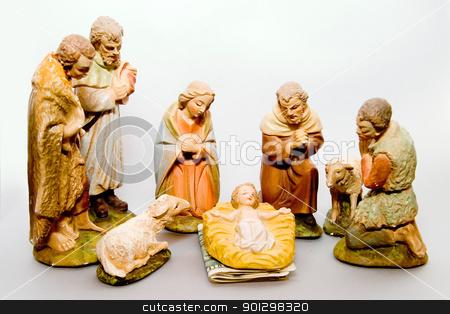 Full Nativity Scene Commercialism stock photo, Full nativity scene displaying Commercialism vs Christmas by Tyler Olson