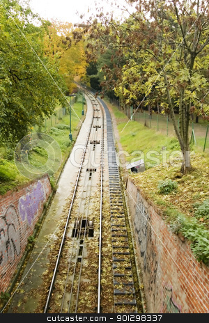 Funicular Track stock photo, The funicular track up to the petrin tower in the town of prague. by Tyler Olson