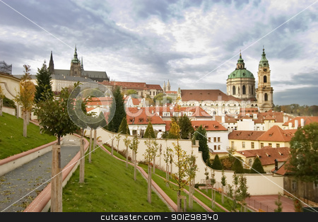 Prague Castle stock photo, A fiew of St. Nicolaus Church and the Prague Castle. by Tyler Olson