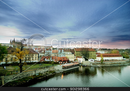 Cityscape with Castle - Prague stock photo, City landscape in the old town Prague, Czech Republic, overlooking the Prague Castle in the early evening. by Tyler Olson