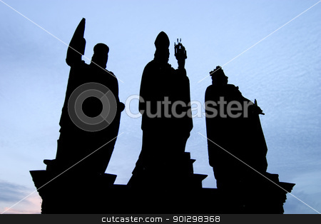 Charles Bridge Statue stock photo, Statue on the Charles Bridge, in Prague, Czech Republic in the early evening. by Tyler Olson