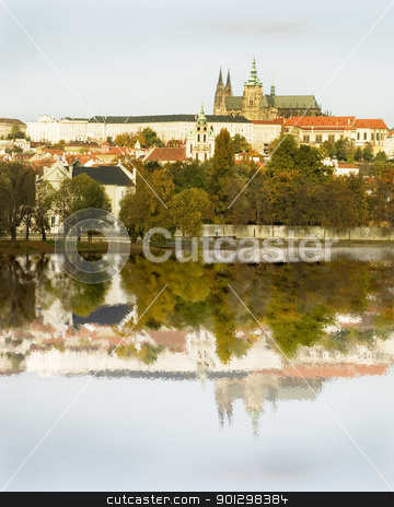 Prague Castle and River stock photo, The Prague castle over looking the river, Czech Republic by Tyler Olson