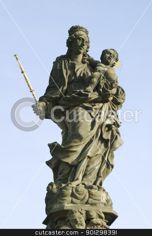 Madonna and Christ Child stock photo, Statue on the Charles Bridge of the Virgin Mary and Christ Child, Prague, Czech Republic by Tyler Olson