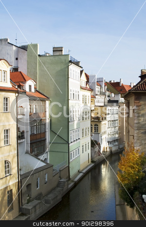 Prague Abstract stock photo, Abstract building detail in Prague, Czech Republic.  This small flow of water looks a lot like venice. by Tyler Olson