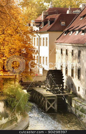 Old Water Mill stock photo, A water mill on a river in Prague, Czech Republic. by Tyler Olson