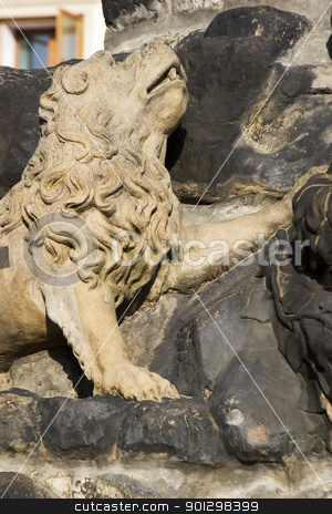 Lion Statue Detail stock photo, A small lion detail on a statue in Prague, Czech Republic. by Tyler Olson