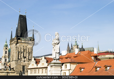 Prague Roofscape stock photo, Roof top detail in Prague, Czech Republic. by Tyler Olson
