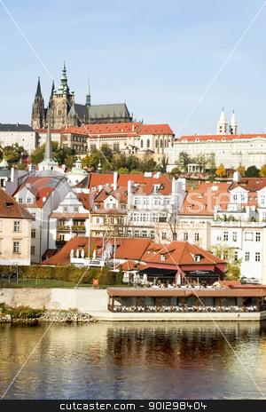 Prague Castle Scenic stock photo, The Prague Castle overlooking the Vltava river, also known as Moldau river, Czech Republic. by Tyler Olson