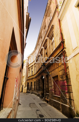 Quaint Street Prague stock photo, A quaint tiny alley (retezova) in Prague, Czech Republic by Tyler Olson