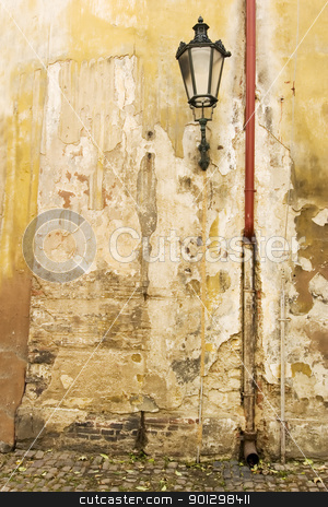 Prague Wall Texture stock photo, An old weathered wall abstract in Prage, Czech Republic. by Tyler Olson