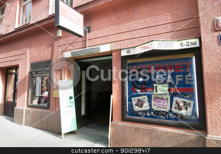 Internet Cafe stock photo, Internet cafe in Prague, Czech Republic. by Tyler Olson