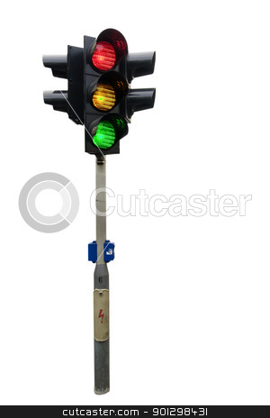 Traffic Light Isolated stock photo, An isolated traffic light from Prague with all lights lit. by Tyler Olson