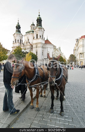Horse Drawn Cart stock photo, A horse drawn cart in the old part of Prague, Czech Republic. by Tyler Olson