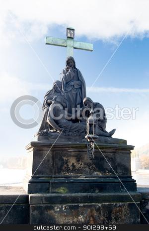 Charles Bridge Statue stock photo, Statue detail on the Charles Bridge, Prague, Czech Republic. by Tyler Olson