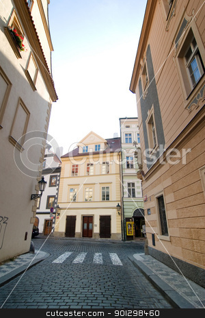 Small Street stock photo, A small quaint street in Prague, Czech Republic. by Tyler Olson