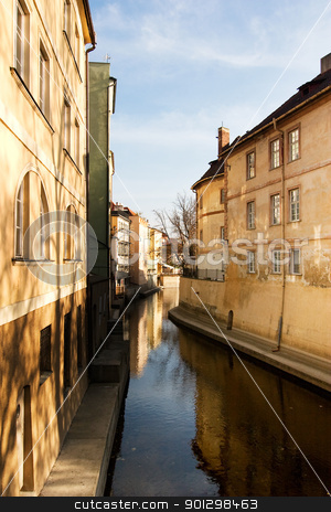 Old Town River stock photo, A small river flowing through the old town area of Prague, Czech Republic. by Tyler Olson