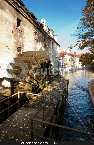 Water Mill stock photo, Water mill detail in the old town area of Prague, Czech Republic. by Tyler Olson