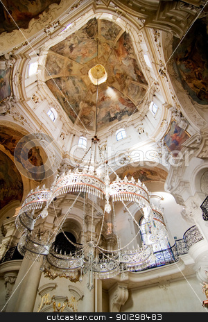 Rococo chandelier stock photo, Rococo church ceiling, chandelier and fresco by Tyler Olson