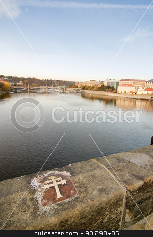 Charles Bridge Cross stock photo, Cross of St Jan Nepomucky where he was allegedly thrown over the bridge to his death by Tyler Olson