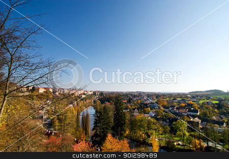 Fall landscape stock photo, A picturesque view of Tabor, Czech in the fall by Tyler Olson