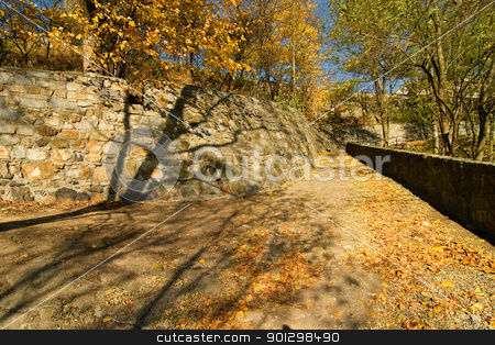 Stone Walkway stock photo, A romatic stone walkway in the autumn by Tyler Olson