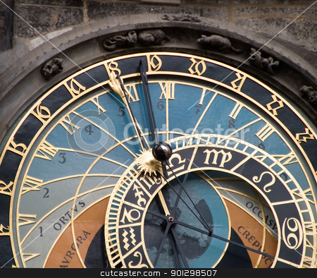 Astronomical Clock, Prague stock photo, The astronomical clock in the old town square, Prague Czech Repbulic. by Tyler Olson