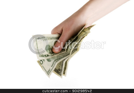 Cash in Hand stock photo, A hand full of American cash by Tyler Olson