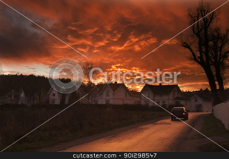 Dramatic Clouds stock photo, Dramatic sundown in Fredrikstad Norway. by Tyler Olson