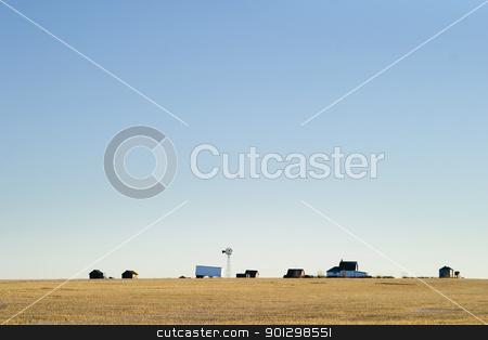 Prairie Yard stock photo, A prairie farm yard, on a very flat horizon. by Tyler Olson