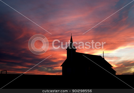 Church during Sunset stock photo, Church on the prairie landscape during sunset by Tyler Olson