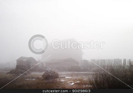 Fog on the Farm stock photo, Winter farmyard in fog by Tyler Olson