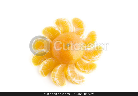 Christmas Orange Design stock photo, Christmas orange with slices making a pattern around it. by Tyler Olson