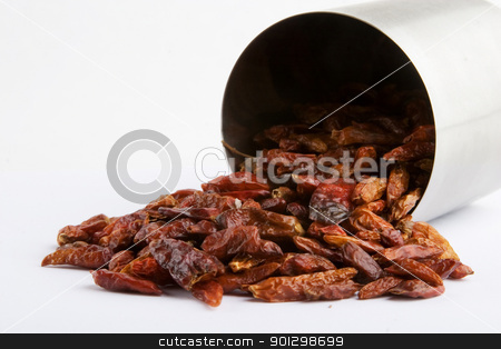 Bulk Hot Chillies stock photo, Dried bulk holt chillies - horizontal format by Tyler Olson