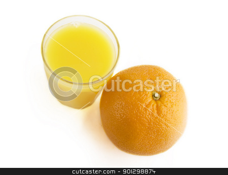 Fresh Orange Juice stock photo, And orange with a cup of orange juice by Tyler Olson