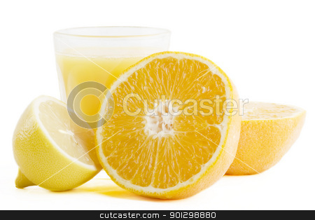 Fresh Juice stock photo, A freshly squeezed glass of citrus (orange and lemon) juice. by Tyler Olson