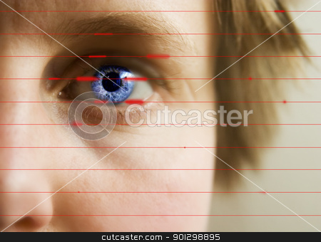 Retina Scan stock photo, Red lines scanning the face and retina of a woman. by Tyler Olson