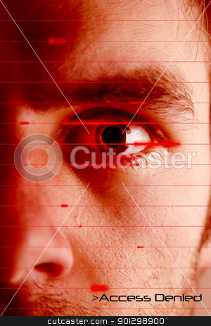 Access Denied stock photo, An iris scan concept image of a male with a few days beard growth (in techno red color) with the words 'Access Denied' by Tyler Olson