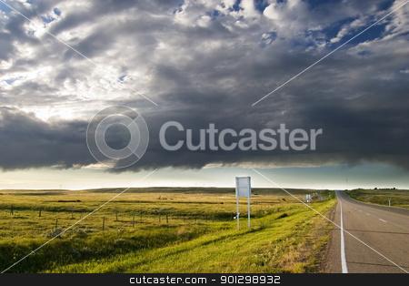 Prairie Road stock photo, Highway on the Prairie by Tyler Olson